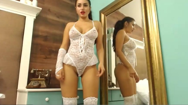 Karlina in white sexy lingerie